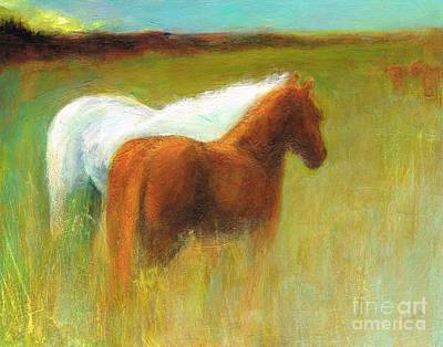 Study Of Two Ponies Art Print by Frances Marino