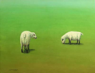 Painting - Study Of Two Sheep by James W Johnson
