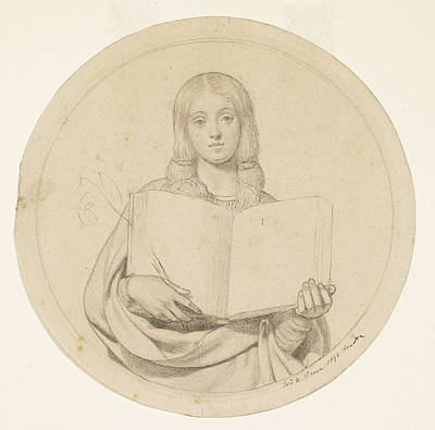 Drawing - Study Of Young Woman Representing The Protestant Faith by Ford Madox Brown