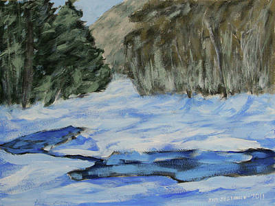 Study Sketch For Winter Creek Art Print by Jim Justinick