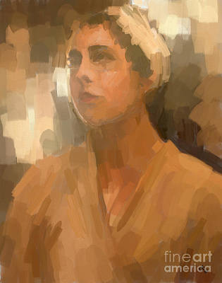 Muted Drawing - Study - Woman With Scarf by Carrie Joy Byrnes