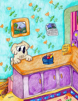 James Griffin Drawing - Stuff The Stinker And The Bag Of Cookies by James Griffin