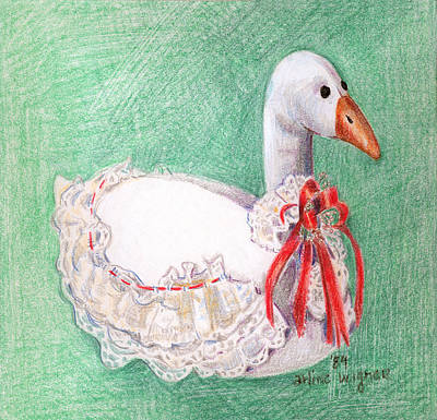 Stilllife Drawing - Stuffed Goose by Arline Wagner