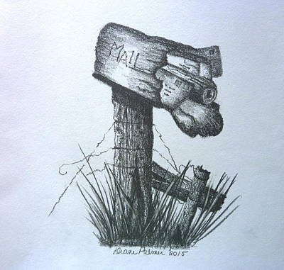 Mail Box Drawing - Stuffed Rural Mailbox by Diane Palmer