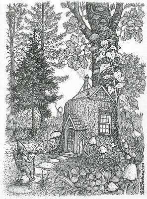Fairy House Drawing - Stumptown Lodgings by Bill Perkins