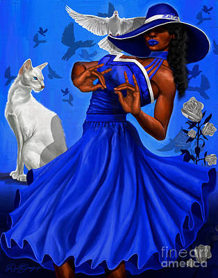 College Girls Wall Art - Digital Art - Stunning Blue And White by The Art of DionJa'Y