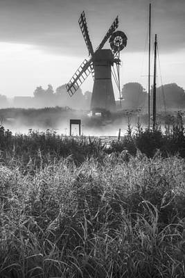 Architcture Photograph - Stunning Landscape Of Windmill And River At Dawn In Black And Wh by Matthew Gibson