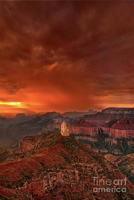 Photograph - Stunning Red Storm Clouds Over The North Rim Grand Canyon Arizona by Dave Welling