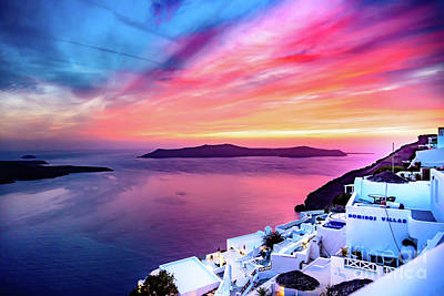 Photograph - Stunning Santorini Sunset - Santorini, Greece by Global Light Photography - Nicole Leffer