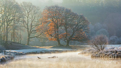 stunning winter light on the river Brathay Art Print by Tony Higginson