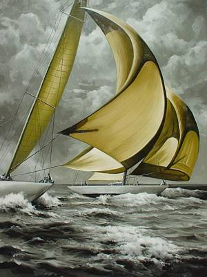 Classic Marine Art Painting - Stunsails Wide by Lucia Amitra