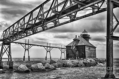 Photograph - Sturgeon Bay Ship Canal North Pierhead Lighthouse In Black And White by Margie Hurwich