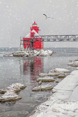 Nikki Vig Royalty-Free and Rights-Managed Images - Sturgeon Bay Wisconsin Lighthouse in Door County in Snow by Nikki Vig