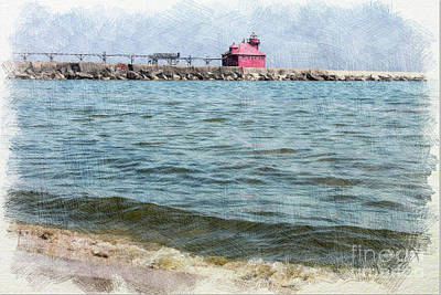 Nikki Vig Royalty-Free and Rights-Managed Images - Sturgeon Bay Wisconsin Pierhead Lighthouse by Nikki Vig