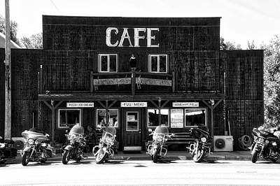Sturgis Pit Stop Hulett Wyoming 04 Bw Art Print by Thomas Woolworth