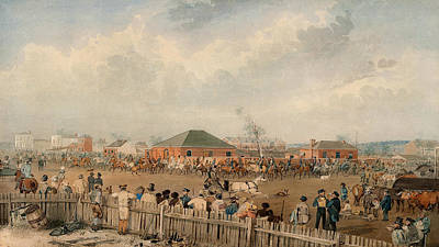 Horse Fence Painting - Sturt's Overland Expedition Leaving Adelaide, 10th August, 1844  by Samuel Thomas Gill