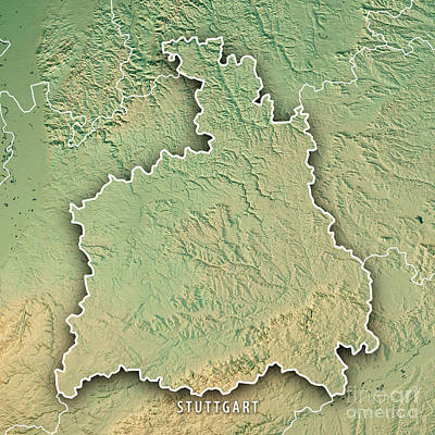 Europe Digital Art - Stuttgart Administrative Region Baden-wurttemberg 3d Render Top by Frank Ramspott
