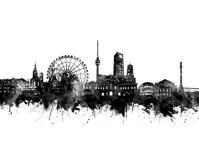 Digital Art - Stuttgart Skyline Black And White by Bekim Art