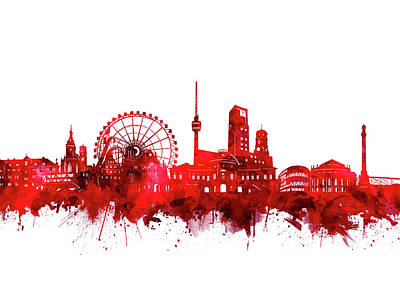 Digital Art - Stuttgart Skyline Watercolor Red by Bekim Art