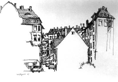 Streetscape Drawing - Stuttgart Street View by Guang Ai