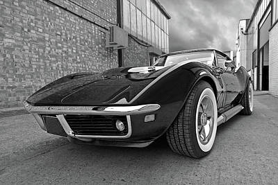 Classic Corvette Photograph - Style In The Back Streets Black And White by Gill Billington
