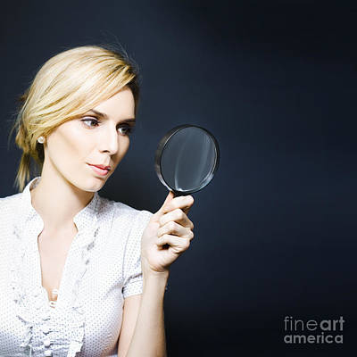 Stylish Business Woman With Magnifying Glass Art Print by Jorgo Photography - Wall Art Gallery