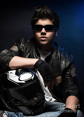 Photograph - Stylish Young Biker by Anna Om