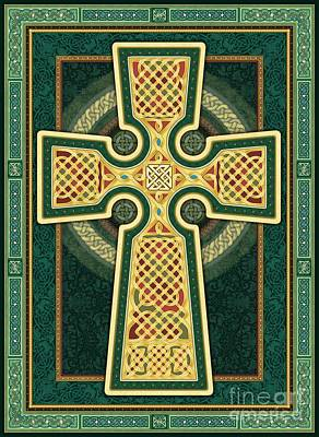 Digital Art - Stylized Celtic Cross In Green by Randy Wollenmann