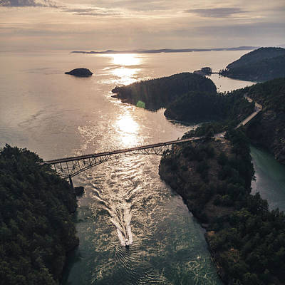 Photograph - Stylized Coastal Bridge Aerial With Boat In Sunset by Open Range