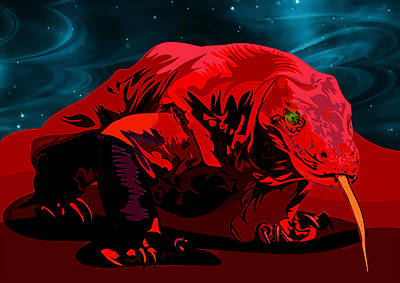 Cosmic Painting - Stylized Cosmic Red Monitor Lizard by Elaine Plesser
