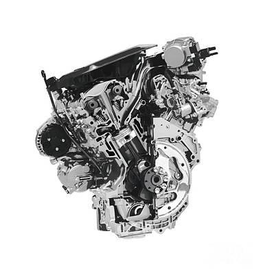 Injections Digital Art - Stylized Cross Section Of Buick Lacrosse V6 Engine Art Print by Oleksiy Maksymenko