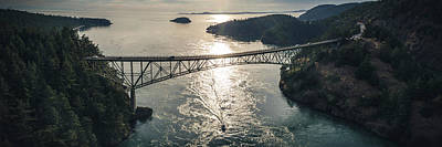 Photograph - Stylized Fisheye Panorama Of Deception Pass Bridge At Golden Hou by Open Range