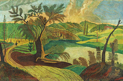 Painting - Stylized Landscape by American 19th Century