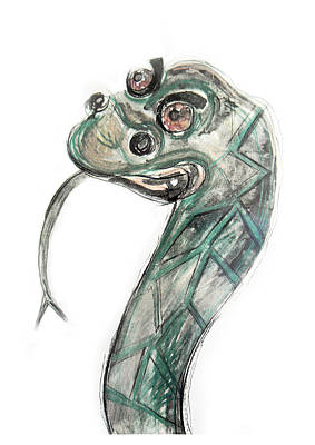 Drawing - Stylized Original Illustration Of Kaa by Marian Voicu