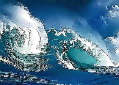 Digital Art - Stylized Wave by Gareth Davies