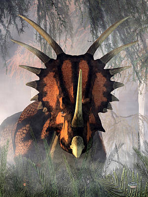Prehistoric Digital Art - Styracosaurus In The Forest by Daniel Eskridge