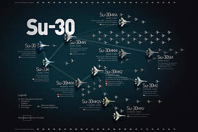Anton Egorov Digital Art - Su-30 Fighter Jet Family Military Infographic by Anton Egorov