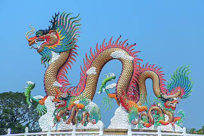 Photograph - Suan Sawan Golden Dancing Dragon Dthns0147 by Gerry Gantt
