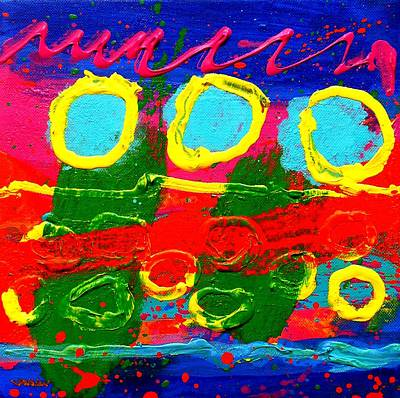 Contemporary Abstract Fruit Painting - Sub Aqua IIi - Triptych by John  Nolan