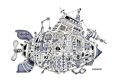 Steampunk Drawing - Sub-marine 13.0 by Larry Scarborough
