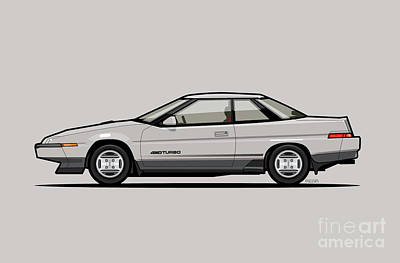 Boxer Digital Art - Subaru Alcyone Xt-turbo Vortex Silver by Monkey Crisis On Mars