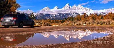 Photograph - Subaru And Teton Reflections Panorama by Adam Jewell