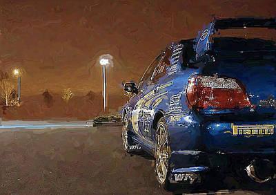 Subaru Impreza Digital Art - Subaru Impreza At Night by David Lambertino