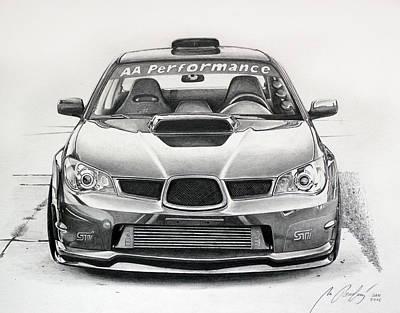 Subaru Impreza Drawing - Subaru Impreza Wrx Sti by Miro Porochnavy