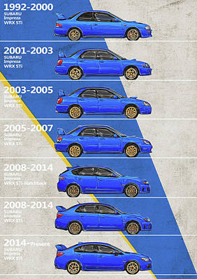 Recently Sold - Transportation Royalty-Free and Rights-Managed Images - Subaru WRX Impreza - History - Timeline - Generations by Yurdaer Bes