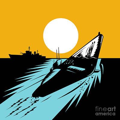 Submarine Boat Retro Art Print by Aloysius Patrimonio