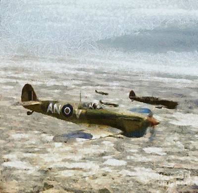 Hurricane Painting - Submarine Spitfire Rcaf by Esoterica Art Agency