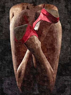 Submissive Women Art Painting - Submission In Red - Rear View by BDSM love