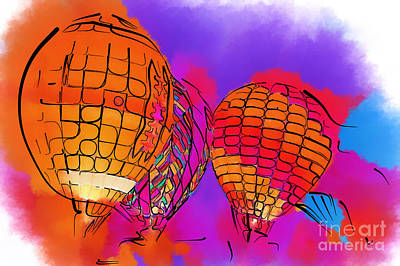 Digital Art - Subtle Abstract Hot Air Balloons by Kirt Tisdale