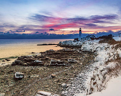 Photograph - Subtle Sunrise At Portland Head Light by Darryl Hendricks